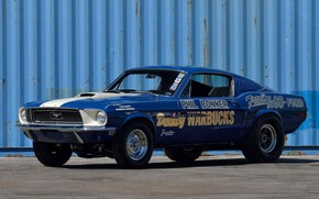 Picture Ford Mustang, Blue, Fastback, 1968, Race car, Cobra Jet