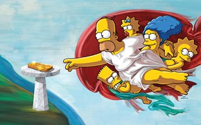 Picture The simpsons, Figure, Picture, Homer, Maggie, Maggie, Simpsons, Bart, Art, Lisa, The Creation Of Adam, …