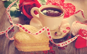 Picture rose, coffee, cookies, tape, heart, valentine's day
