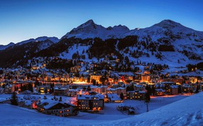 Picture winter, the sky, snow, trees, mountains, lights, home, the evening, Switzerland, town, Davos