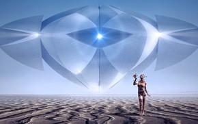Picture girl, light, landscape, space, future, rendering, fiction, desert, people, UFO, horizon, art, cyborg, material, space, …