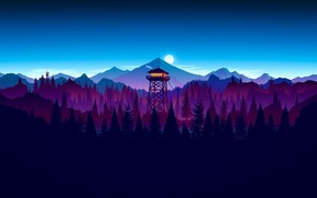 Wallpaper Firewatch, sky, sunset artwork, night, moon, forest, game, kumo, cloud