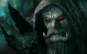 Picture WOW, game, Warcraft, face, fang, evil, head, hood, ork, Word of Warcraft, From roses, moster
