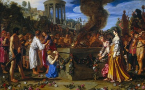 Picture tree, oil, picture, mythology, Peter And Pieter Lastman, Orestes and Pylades Are to the Sacrificial …
