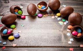 Picture chocolate, eggs, colorful, candy, Easter, wood, chocolate, spring, Easter, eggs, candy, decoration, Happy