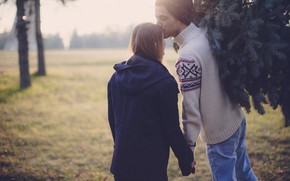 Picture girl, back, feelings, tree, kiss, jacket, pair, guy, lovers