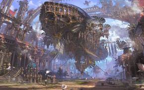 Picture city, fantasy, airship, birds, street, people, painting, ruins, buildings, artwork, fantasy art, Steampunk, futuristic, ropes, …