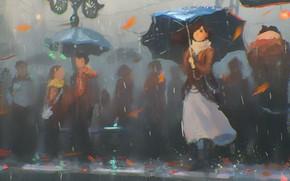 Picture girl, rain, street, umbrella, art