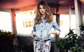 Picture girl, photo, background, model, makeup, dzhinsovka, Cara Delevingne, Cara Delevingne, Reserved