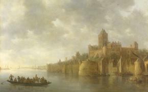 Picture landscape, oil, picture, Jan van Goyen, Castle Valkhof in Nijmegen