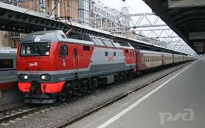 Picture Locomotive, Train, Station, The way, Composition, Platform, Railways, Russian Railways
