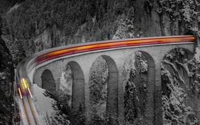 Wallpaper excerpt, forest, rocks, winter, snow, bridge, train