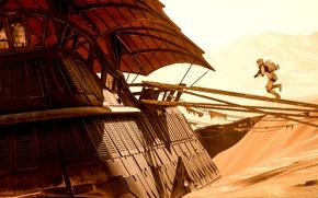 Wallpaper game, Electronic Arts, DICE, Attack, Stormtrooper, Tatooine, Tatooine, Star Wars: Battlefront