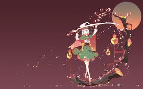 Picture girl, background, sword, Touhou, Touhou