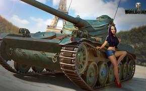 Wallpaper girl, the sun, figure, shorts, Mike, area, art, shoes, tank, Eiffel tower, World of Tanks, ...