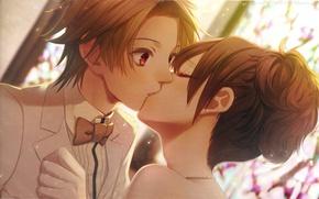 Picture kiss, neck, art, wedding, visual novel, the bride and groom, bow tie, nagaoka, Nadeshiko Kurou, …