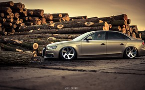 Picture Audi, Auto, Audi, Forest, Machine, Sedan, Car, Sedan, Audi A4, Logs, German, Mike Crawat Photography, …