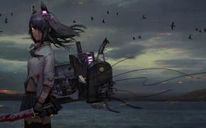 Picture sea, girl, mountains, birds, nature, weapons, blood, anime, tenryuu, kantai collectio, tomiya7112