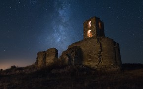 Picture the sky, stars, light, night, darkness, castle, romance, Windows, tower, hill, ruins, bricks, arch, the …