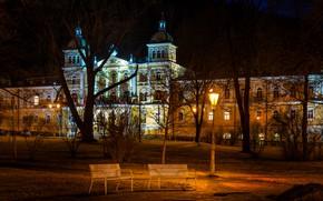 Picture trees, night, lights, Park, the building, Czech Republic, lantern, benches, Usovice, Karlovy Vary Region