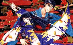 Wallpaper guy, sword, girl, samurai