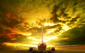 Wallpaper landscape, the sky, clouds, the evening, runway, glow, the plane, passenger