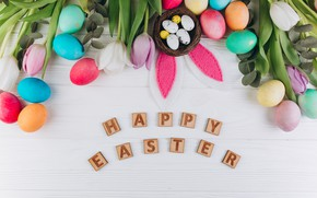 Picture flowers, eggs, spring, Easter, tulips, Holiday, ears, Socket, Orthodox holiday