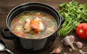 Picture fish, tomato, parsley, garlic, ear