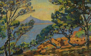 Picture sea, landscape, mountains, picture, Arman Hyomin, Armand Guillaumin, The Bay of Agay and the Semaphore