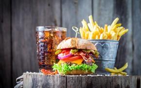 Wallpaper food, hamburger, Coca Cola, fries