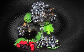 Picture summer, raspberry, mood, wine, grapes, still life