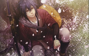 Picture katana, hat, petals, guy, art, sheath, demons pale cherry, hakuouki shinsengumi kitano, yone kazuki, look …