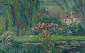 Picture landscape, flowers, picture, impressionism, Blanche Monet, Blanche Hoschede-Monet, Giverny. Roses and Lilies