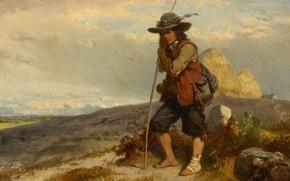 Wallpaper cardboard, Eugene Modeste Edmond Lepoittevin, Shepherd boy, oil, figure, picture
