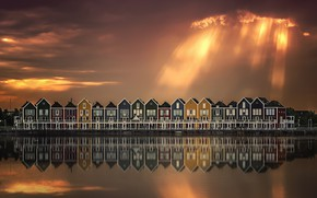Picture the sky, water, clouds, light, reflection, clouds, the city, houses