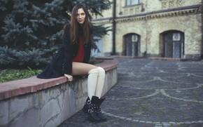 Picture knee, Natasha Shelyagina, girl, smile, girl