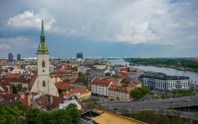 Picture river, building, roof, panorama, Slovakia, Bratislava