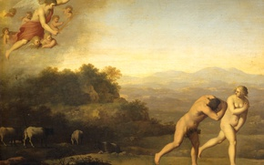 Picture tree, oil, picture, mythology, Cornelis van Poelenburg, The expulsion from Paradise