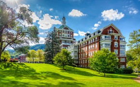 Picture summer, trees, the building, the hotel, Virginia, Virginia, Hot Springs, The Omni Homestead Resort