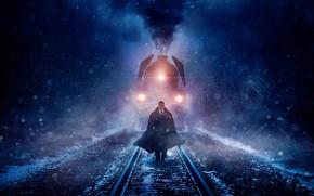 Picture cinema, blizzard, smoke, snow, man, movie, train, film, suit, mustache, tie, Kenneth Branagh, Murder on …