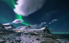 Picture mountains, Northern lights, Flakstad