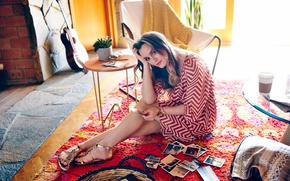 Picture makeup, dress, hairstyle, photos, brown hair, beauty, Leighton Meester, sitting, on the floor, sandals, Leighton …