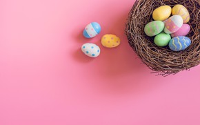 Picture basket, eggs, spring, colorful, Easter, wood, pink, spring, Easter, eggs, decoration, Happy, tender