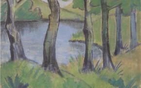 Picture grass, trees, lake, the bushes, Expressionism, Otto Mueller, ca1919, Waldsee