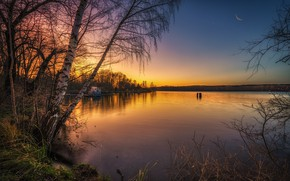 Picture trees, sunset, lake