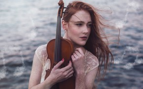 Picture sea, look, girl, face, notes, music, the wind, violin, hair, portrait, hands, red, freckled