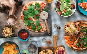 Picture food, nuts, pizza, ketchup, chips, sandwiches, cutting Board, Basil