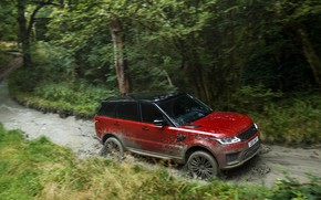 Picture road, forest, water, movement, vegetation, dirt, SUV, Land Rover, black and red, four-door, Range Rover ...