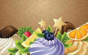 Wallpaper chocolate, cream, orange, nuts, Birthday, berry, dessert, postcard, lemon, vector