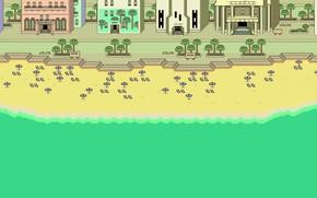 Picture Sand, Sea, Beach, The city, Building, Art, Pixels